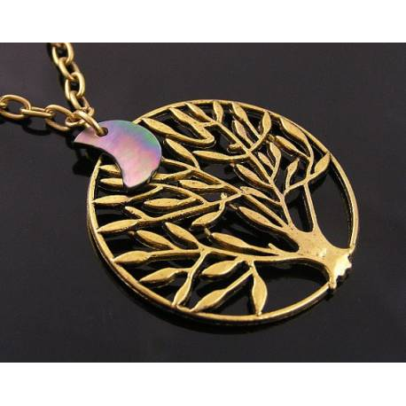 Golden Tree Necklace with Crescent Moon Shell Charm and Amethyst