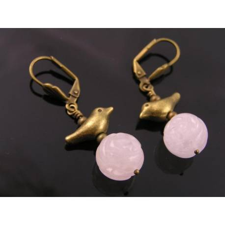 Bird Earrings with Carved Rose Quartz Beads