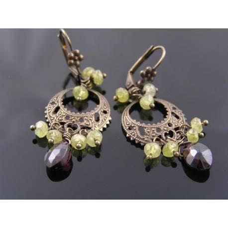 Grossular and Pyrope Garnet Chandelier Earrings