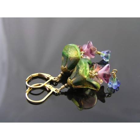 Flower Earrings, Czech Beads