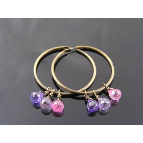 Pink and Purple Cubic Zirconia Hoop Earrings
