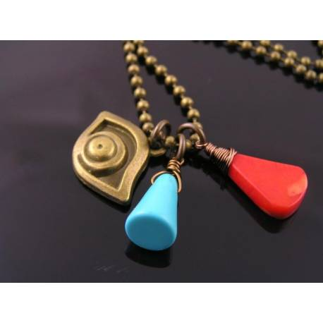 Evil Eye Protection Necklace, Turquoise, Coral and Evil Eye Charm