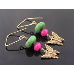 Chrysoprase, Pink Jade and Butterfly Earrings