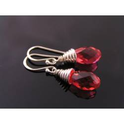 Padparadscha Swarovski Crystal Earrings, Sterling Silver