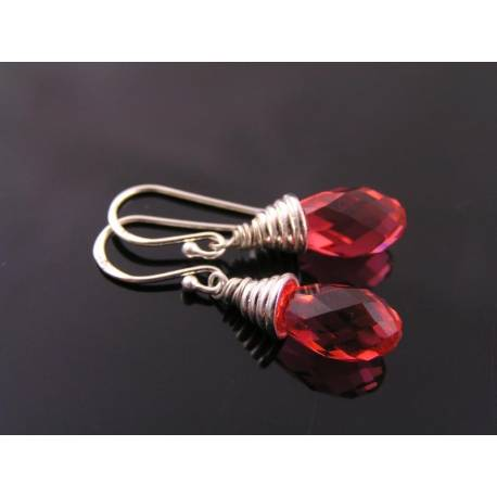 Padparadscha Swarovski Crystal Earrings, Sterling Silver