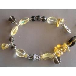 Citrine and Smokey Quartz Sterling Silver Bracelet