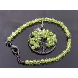Peridot Tree of Life Pendant and Bracelet, August Birthstone