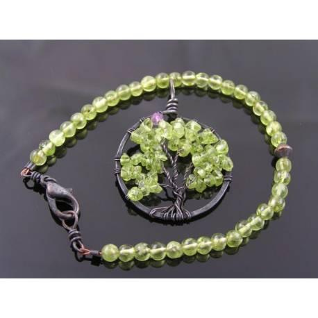 Peridot Tree of Life Pendant and Bracelet, August Birthstone