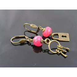 Locket and Key Earrings with large, genuine Rubies