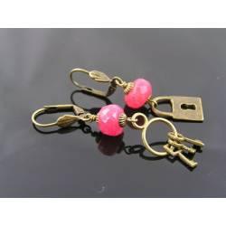 Locket and Key Earrings with large, genuine Rubies
