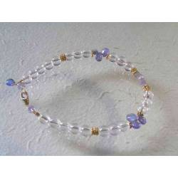Tanzanite and Rock Quartz Gold Bracelet