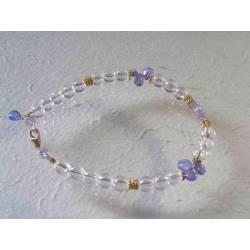 Tanzanite and Rock Quartz Gold Bracelet
