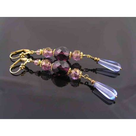 Dramatic Purple and Blue Long Crystal Earrings