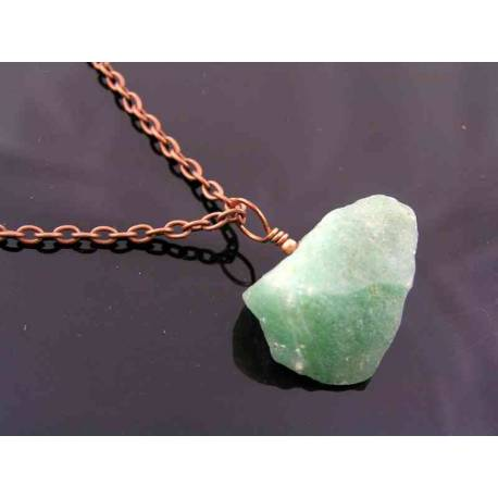Cool Unisex Chain with Green Aventurine Nugget Pendant