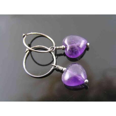 Amethyst Heart Earrings, Sterling Hoops