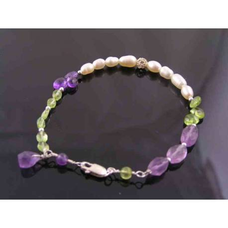 Gemstone Bracelet in Suffragette Colours, Amethyst, Peridot and White Pearls