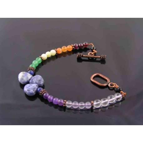 Gemstone Bracelet in Chakra Colours, Copper