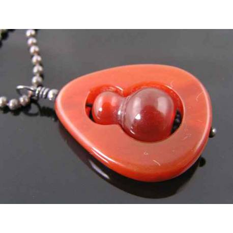 Unique Carved Carnelian Bead in Bead Necklace