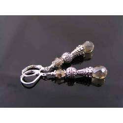 Baroque Column Earrings with Champagne Crystals
