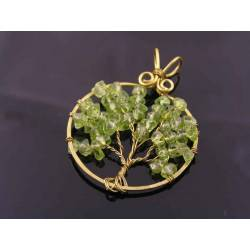 Hand Made Peridot Tree of Life Pendant, August Birthstone