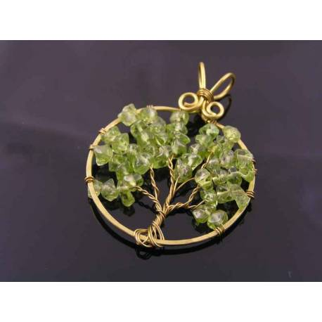 Hand Made Peridot Chips Tree of Life Pendant, August Birthstone