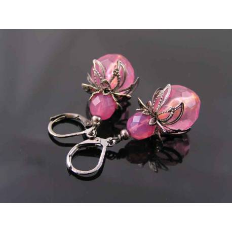 Pink Earrings with Vintage Acrylic and Czech Beads