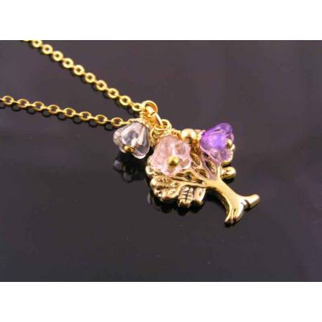 Gold Tree Charm and Flower Necklace