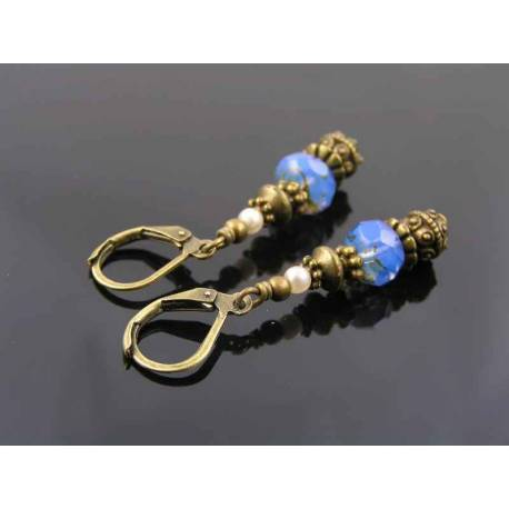 Blue Czech Bead Dangle Earrings