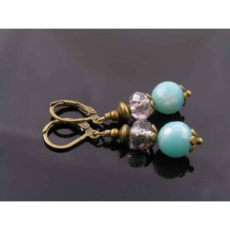 Amazonite and Crystal Earrings