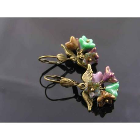 Angel Wings and Czech Flower Earrings