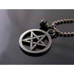 Dark Pentagram and Black Spinel Necklace, Black Necklace