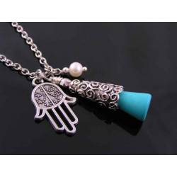 Hamsa Hand Protection Necklace with Turquoise and Pearl