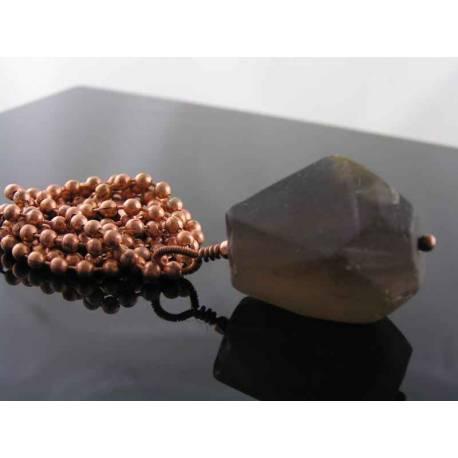 Huge Smokey Quartz and Copper Necklace