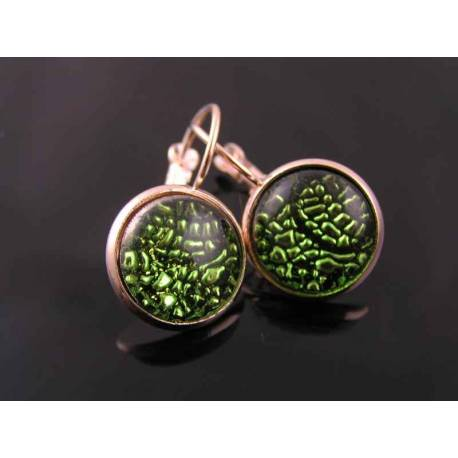 Dramatic Green Snake Skin Cabochon Rose Gold Earrings