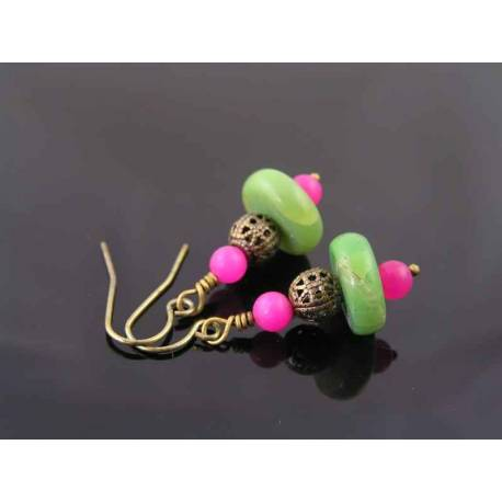 Chrysoprase and Pink Jade Earrings