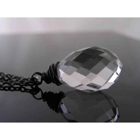 Large Quartz Drop Necklace, Gunmetal