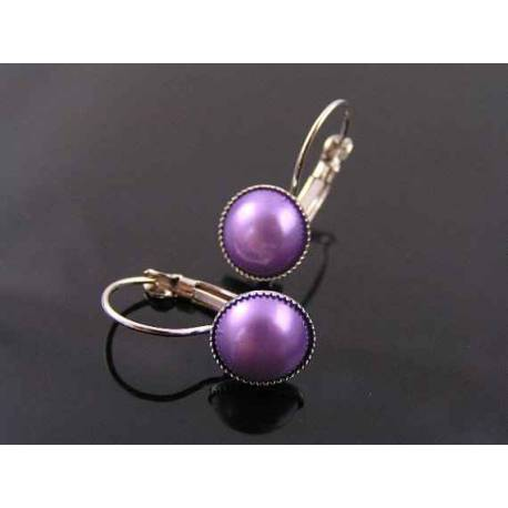 Small Purple Pearl Earrings