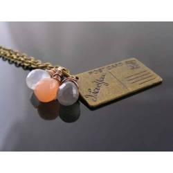 Love Letter Necklace, I Love You Pendant with Moonstones