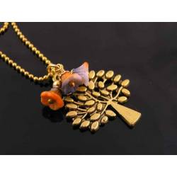Cute Tree of Life Necklace with Czech Flower Beads, Gold