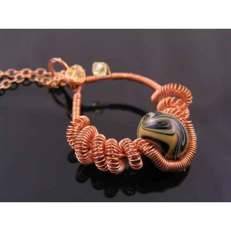 Wire Wrapped Handmade Pendant with Handmade Lampwork Bead