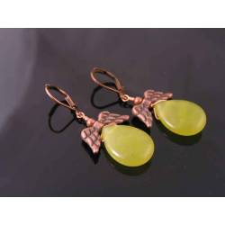 Olive Quartz, Copper Wings Earrings