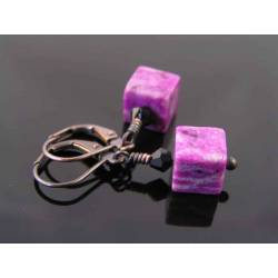 Cute Purple Sugilite Jasper Block Earrings