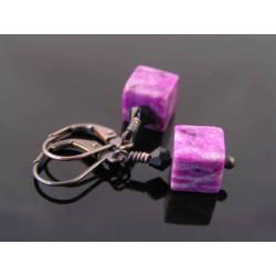 Cute Purple Jasper Block Earrings