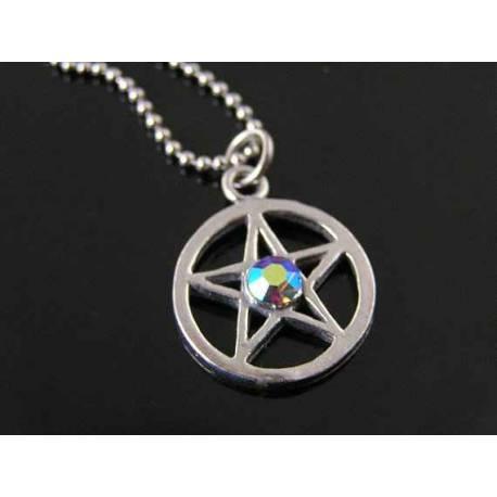 Crystal Set Pentagram Necklace with Garnet Drop, Supernatural Necklace,