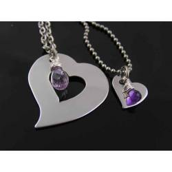 Mother and Daughter Two Heart Necklace Set
