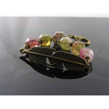 Watermelon Quartz Bracelet with Feather Charm