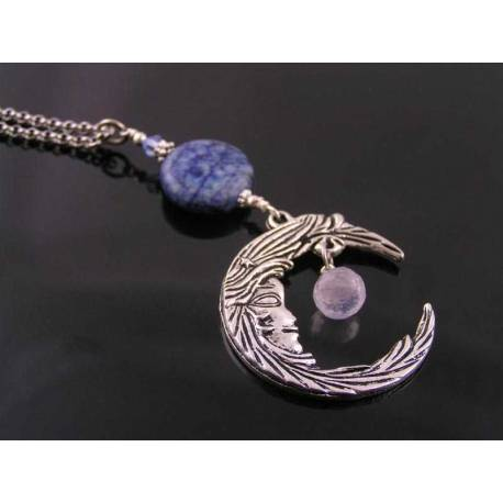 Crescent Moon Necklace with Pink Amethyst and Ice Quartz