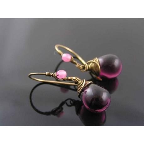 Amethyst Czech Glass Teardrop Earrings