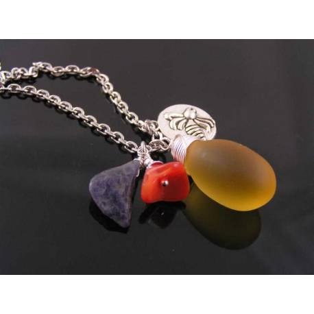 Charm Necklace with Large Czech Glass Honey Drop, Iolite and Bee