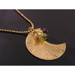 Crescent Moon Necklace with Garnet, Peridot and Citrine